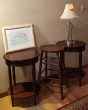 FRAMED SEAL DRAWING, LAMP, WOOD STOOL AND ROUND SIDE TABLES