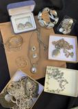 LARGE LOT OF SILVER TONE JEWELRY