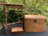 SMALL WOOD TABLE, TRUNK AND CIGAR BOX