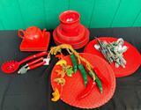 RED DISHES, PLACEMATS CHILI DECOR AND MORE
