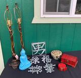 SET OF LAMP BASES AND ASIAN DECOR