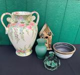 LARGE FLORAL VASE, BIRDHOUSE AND MORE