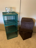 GREEN SHELVES AND TWO BROWN STORAGE FOOTSTOOLS