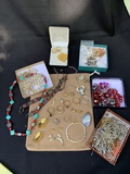 LARGE LOT OF MIXED METAL EARRINGS AND BEADED JEWELRY