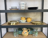 PLATES, BOWLS, PAINTED WINE GLASSES AND MORE