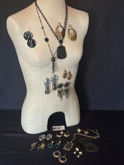 LARGE LOT OF EARRINGS AND THREE PENDANT EARRINGS,
