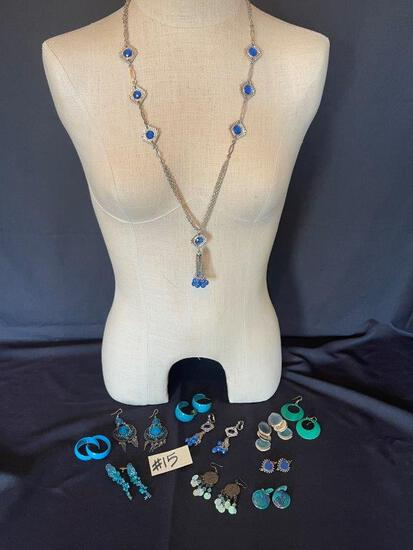 BLUE EARRINGS AND NECKLACE,