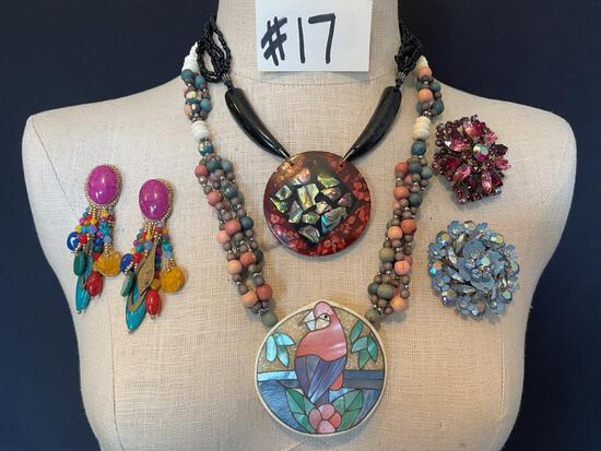 """MOTHER OF PEARL NECKLACES, TWO BROOCHES AND EARRINGS"""""""