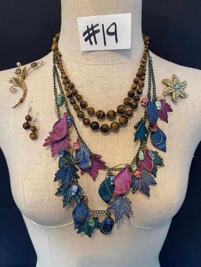 """LEAF NECKLACE, BROOCHES AND BEADED STONE NECKLACE AND EARRING SET"""""""