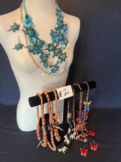 """BEADED TURTLE NECKLACE, BEADED ANIMAL NECKLACES AND OTHER BEADED NECKLACES"""","""