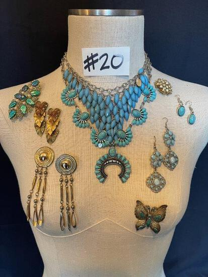 """TURQUOISE NECKLACES, EARRINGS AND BROOCHES"""""""