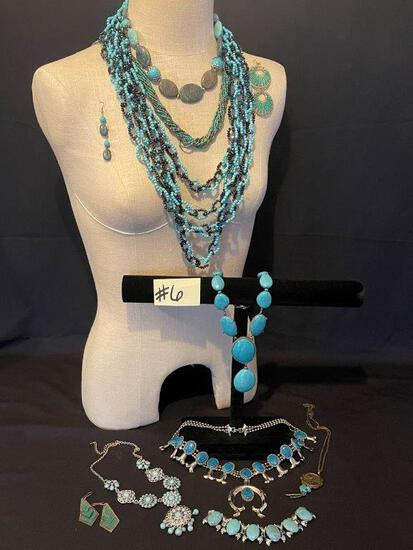SQUASH BLOSSOM NECKLACE, TURQUOISE AND SILVER JEWELRY