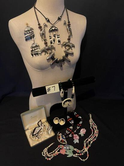 """BLACK, WHITE AND SILVER JEWELRY LOT"""","""