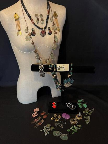 """LARGE LOT OF EARRINGS, THREE NECKLACES AND A BRACELET"""","""