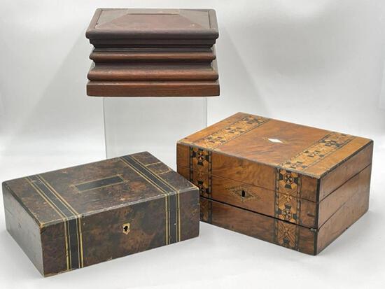 THREE UNIQUE ANTIQUE BOXES