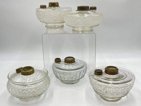 FIVE LARGE ANTIQUE GLASS OIL LAMP INSERTS