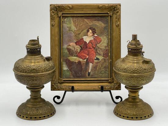 TWO BRASS OIL LAMPS AND FRAMED ART