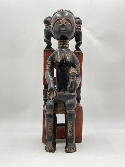 AFRICAN WOMAN AND CHILD WOOD CARVING
