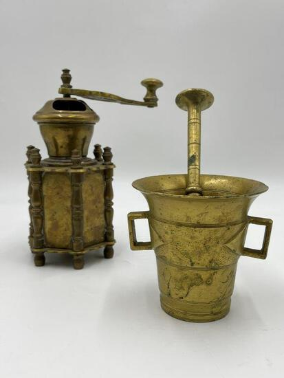 BRASS PEPPER GRINDER AND MORTAR AND PESTLE