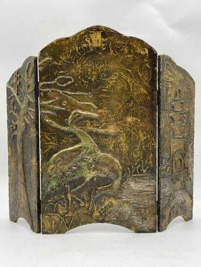 ANTIQUE SMALL WOOD SCREEN WITH CRANES