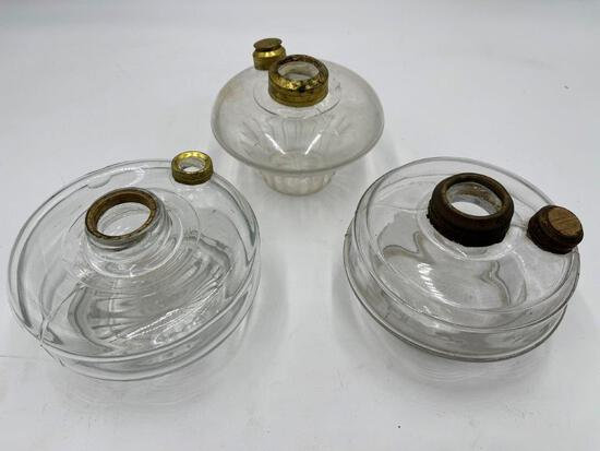 THREE GLASS OIL LAMP BASES