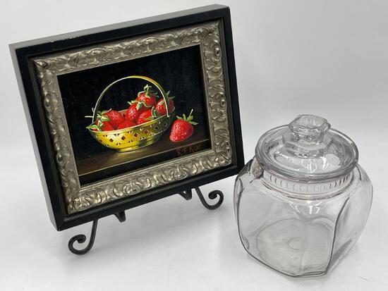 FRAMED ART AND TOBACCO JAR