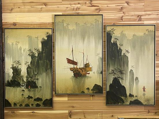 """ORIGINAL OIL ON CANVAS,""""CHINESE FISHERMAN"""", SIGNED R.E RUSSELL PAINTINGS SET OF THREE"""