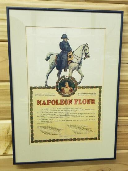 ANTIQUE FRAMED NAPOLEON FLOUR ADVERTISEMENT