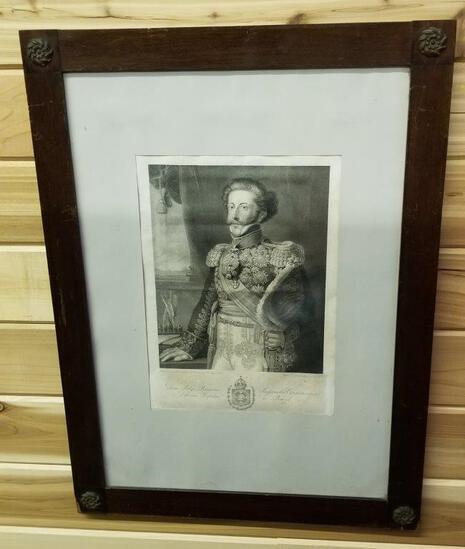 FRAMED LITHO OF EMPEROR PEDRO I OF BRAZIL