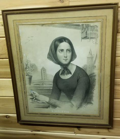 FRAMED LITHO OF A WOMAN