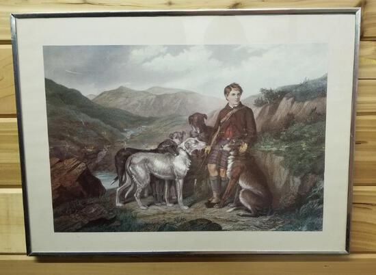 LARGE FRAMED PRINT OF A BOY AND HIS DOGS