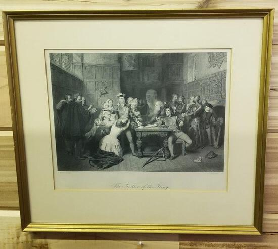 THE JUSTICE OF THE KING FRAMED LITHO