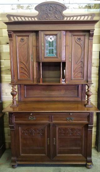 ANTIQUE BUFFET WITH DECORATIVE FLORAL DESIGN AND STAINED GLASS