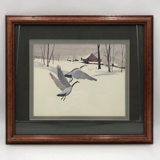 ARTWORK - WATERCOLOR GEESE SNOW PRINT BY HENDERSON