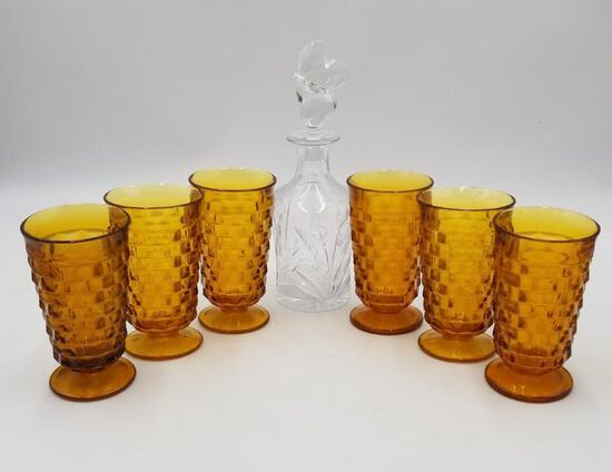 VINTAGE BARWARE- INDIANA GLASS WHITEHALL AMBER TALL GLASSES AND DECANTER
