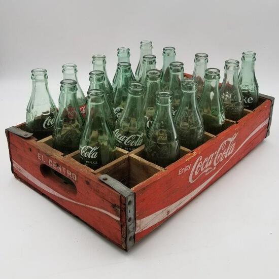 VINTAGE COLLECTIBLE- WOOD COCA-COLA ORIGINAL TRAY AND VARIOUS BOTTLES.