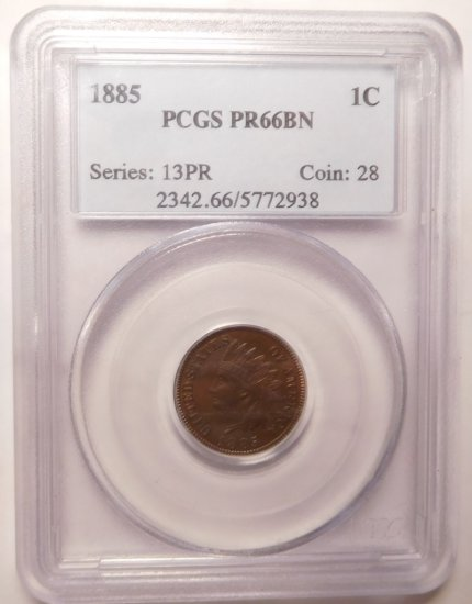 1885 INDIAN CENT PCGS PROOF-66 BROWN