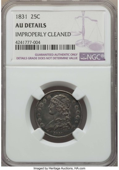 1831 CAPPED BUST QUARTER NGC AU DETAILS CLEANED