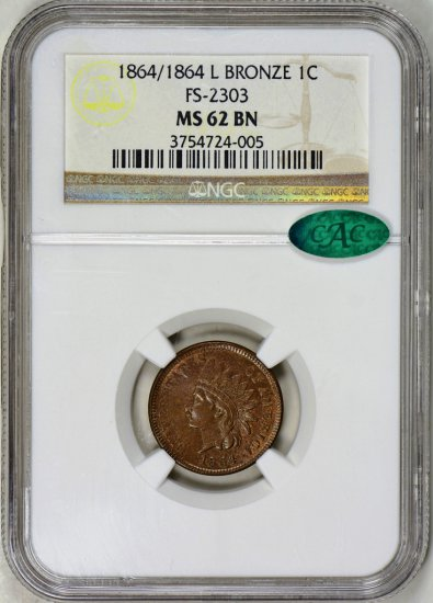 1864/1864-L BRONZE INDIAN CENT NGC MS-62 BROWN