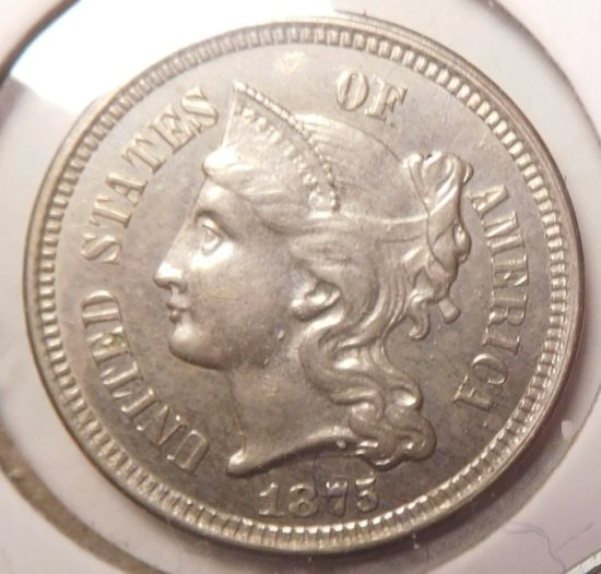 1875 THREE CENT NICKEL CH BU