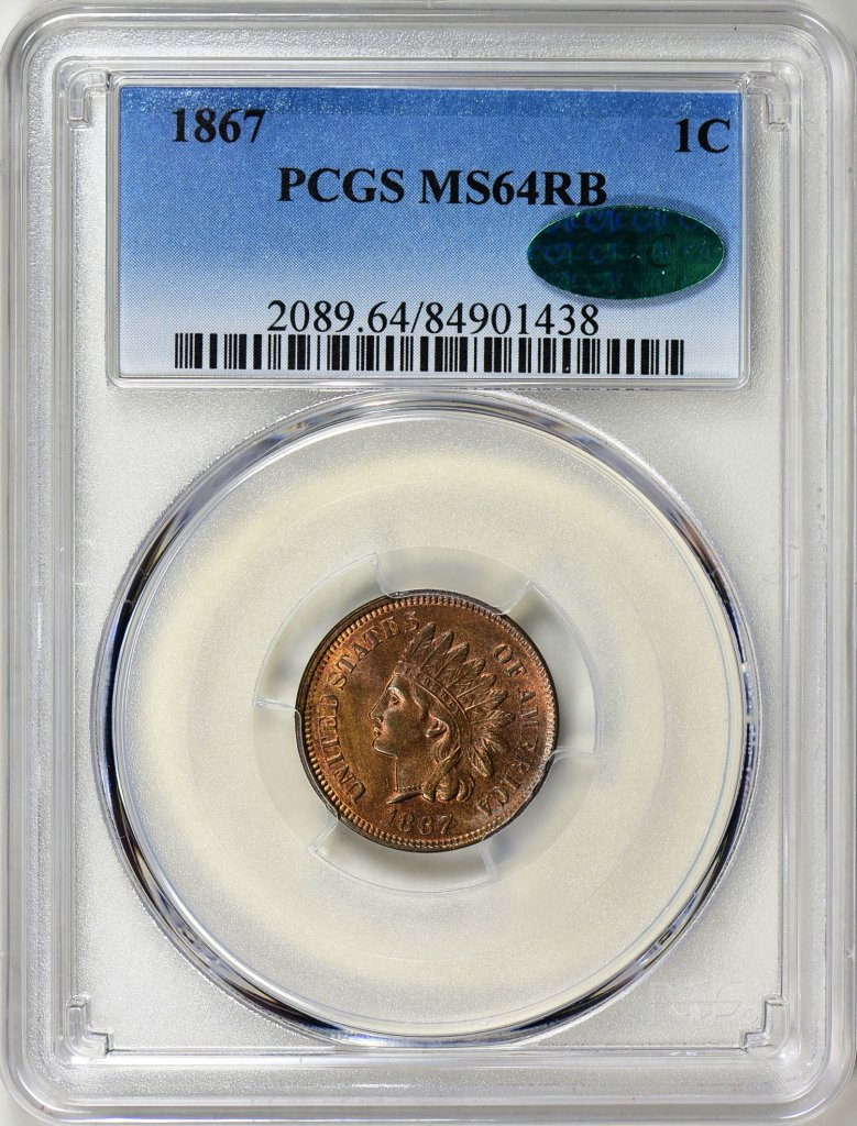 1867 INDIAN CENT PCGS MS-64 RED BROWN CAC