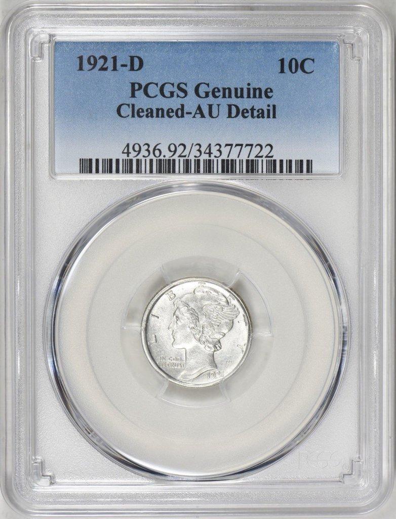 1921-D MERCURY DIME PCGS AU++ DETAILS CLEANED