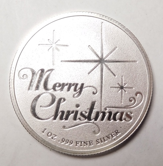 (7) 1 OZ. MERRY CHRISTMAS SILVER ROUNDS (7 COINS)