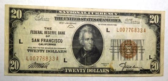 1929 $20.00 NATIONAL NOTE SAN FRANCISCO XF/AU