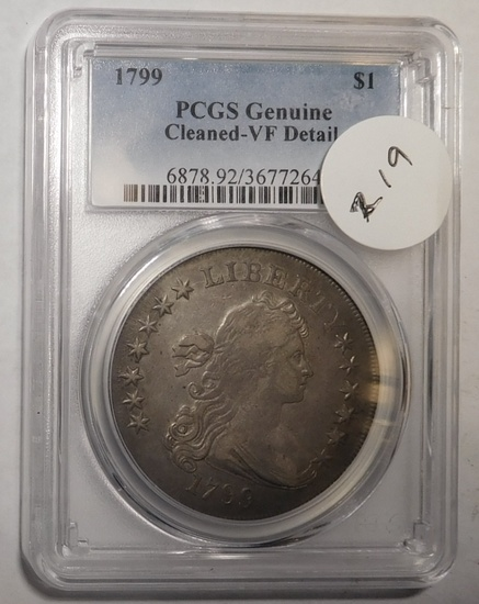 1799 DRAPED BUST DOLLAR PCGS VF DETAILS (LIGHTLY CLEANED)