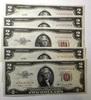 LOT OF FIVE 1953-B $2.00 NOTES CRISP GEM UNC (5 NOTES)