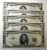 LOT OF FIVE 1963 $5.00 NOTES AU/UNC (5 NOTES)