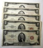 LOT OF FIVE $2.00 NOTES XF/AU (5 NOTES)