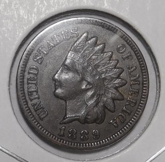 1889 INDIAN CENT AU-58