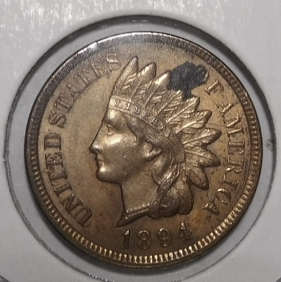 1894 INDIAN CENT CH BU RED CORROSION